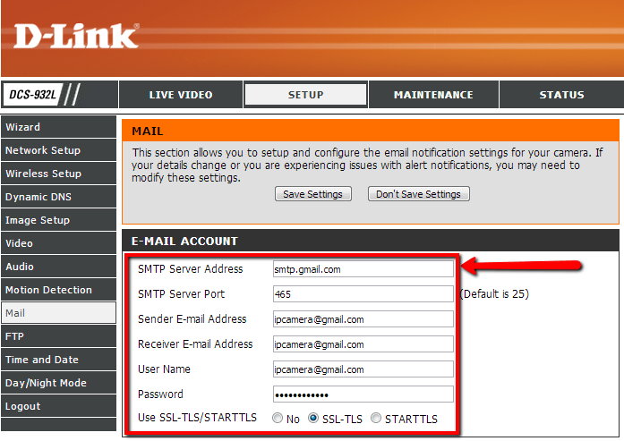 Mail Settings For Dlink 932l